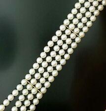 Estate $600 14K Yellow Gold Triple Band Pearl Bracelet