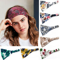 Women Yoga Wide Headband Cotton Turban Bandana Floral Print Hair Band Head Wrap