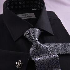 New Arrival Designed Black Herringbone Business Shirt Easy Iron Boss Mens Formal