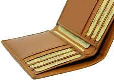 Slim Tan real leather credit card oyster holder mini small thin bifold wallet ##