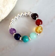7 CHAKRA RING STERLING SILVER TINY GEMSTONE RING DESIGNER HEALING BEADED JEWELRY