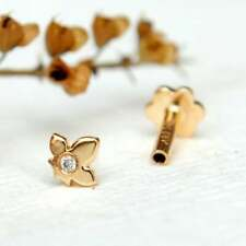 Maple Leaf Ear Piercing Nose Pin Stud 14K Yellow Gold Finish Round White Cz