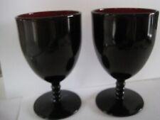 """Ruby Red Goblets Antique Set 2 5 1/4"""""""