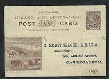 NEW ZEALAND (P1506B) QV PICTORIAL WHITE CARD BLACK, WATERING HORSES NOT SENT