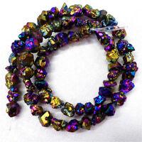 "Rainbow Titanium crystal Agate Druzy Quartz Geode stone Loose Bead 15.5/"" HBTZ43"