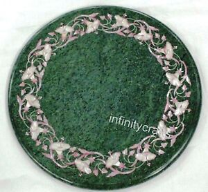 13 Inch Green Round Marble Coffee Table Top Marquetry Art Corner Table for Home