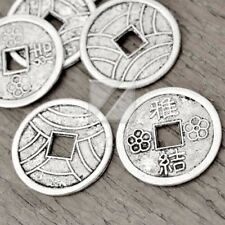 100pcs Tibetan Antique Silver Flat Round Coin Chinese Beads TS2096