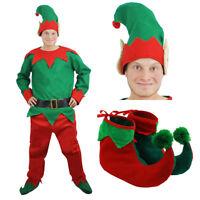 MENS ELF COSTUME ADULTS CHRISTMAS SANTAS LITTLE HELPER FANCY DRESS XMAS OUTFIT