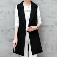 Lady Waistcoat Suit Vest Long Sleeveless Blazer Jacket Duster Coat Cardigan Slim