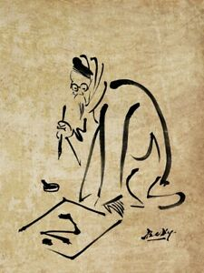 """Beky's painting of """"CALLIGRAPHER"""" in Chinese black ink on special paper."""