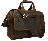 "Vintage Brown Bull Leather Men's 14"" Laptop Handbag Briefcase Messenger Bag Tote"