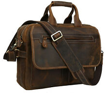 -Vintage Bull Leather Men's Laptop Handbags Briefcase Messenger Bag Brown
