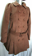 MANTEAU CABAN MI-LONG DUFFLE-COAT S 38 laine marron col amovible femme DDP NEUF