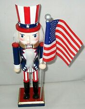 Patriotic Nutcracker 10 inches Traditional Uncle Sam Holding American Flag