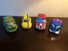 Lot of 4 Transformers Animated Bumper Battlers - Bumblebee - Bulkhead - Ratchet