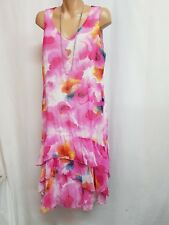 PERS-ON-ELLE SIZE 14  PINK YELLOW BLUE FLOWER DRESS WEDDING RACES PARTY