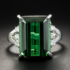Vintage 925 Silver Square Cut Emerald Gemstone Wedding Engagement Ring Wholesale