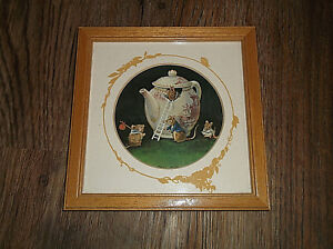 """Vintage Racey Helps Framed Nursery Animals Mice In Teapot Picture 6 1/4"""""""