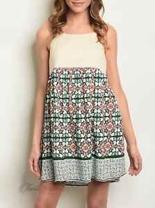 Love | Cream Green Spaghetti Strap Lace Printed Tunic Dress | NWT Size: S, M, L