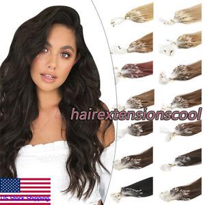 Fish Line Loop Micro Ring Tip Hair Extensions Real Human Hair Micro Beads Links