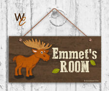 Moose Sign, Woodland Personalized Sign, Kid's Name, Kids Door Sign, 5x10 Sign