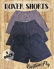 Boxer Shorts Underwear Briefs 3 Pack Plaid Cotton Mens Women Button Fly Premium