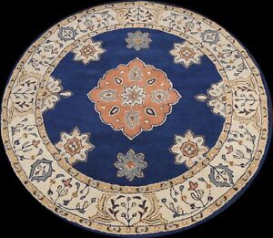 Geometric Traditional Oriental Area Rug Navy Blue Wool Hand-tufted 6x6 ft Round