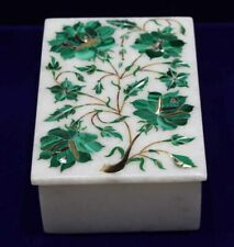 Box Jewellery Malachite Marble White Art Inlay Decor Home Storage Hand Carved