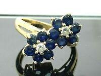 Blue Sapphire Diamond Women's Flower Ring 14k Yellow Gold Estate Jewelry SZ 5.5