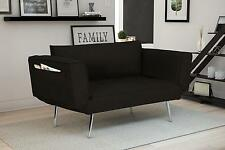 Modern Rich Black Linen Euro Loveseat Futon Sofa Bed, with Magazine Storage