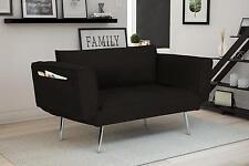 Modern Rich Black Linen Euro Loveseat Futon Sofa Bed, with Magazine Storage