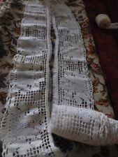 ,coton 2m,50x9cm belle dentelle  ancienne ,rallonge rideau ,literie etc ..blanc