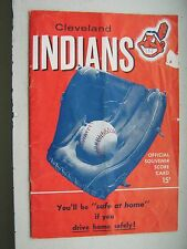 1955 Cleveland INDIANS Score Card vs Boston RED SOX Ted Williams et al VERY NICE