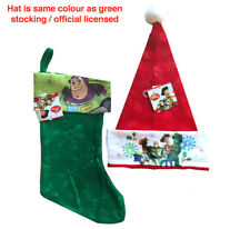 Toy Story Buzz and Woody Friends Christmas Stocking w Matching Santa Hat Green