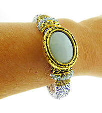 "Laura Janelle Bangle Bracelet Blue Glass .75x7.5"""