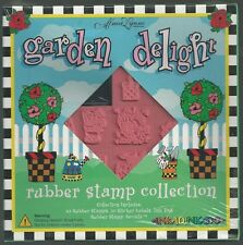 Garden Delight 10 Rubber Stamps boxed set + ink  NEW - card making , kids crafts
