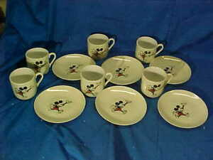 12pc Orig 1930s MICKEY MOUSE Porcelain TEA CUP SET Made in Japan