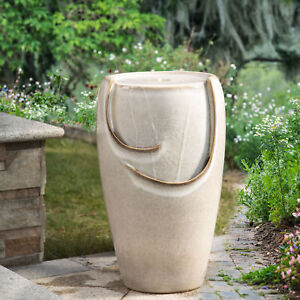 "Glitzhome 21""H Outdoor Beige Ceramic Pot Water Fountain w/ LED Light Pump Garden"