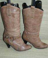 OFFICE WOMENS BROWN PULL ON LEATHER MID CALF BOOTS SIZE:5/38(WB1975)