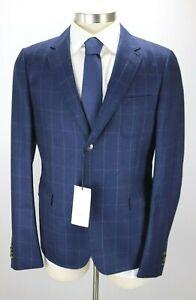 NWT $1795 GUCCI Navy Windowpane Wool Cambridge Jacket Coat Slim 42 R (52 Eu)