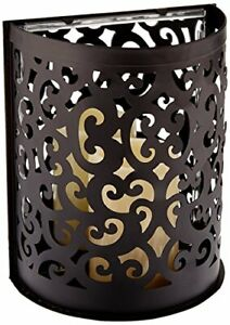 """Pacific Accents Montrose Black Scroll Wall Sconce W/ Flameless Resin Candle 8.5"""""""