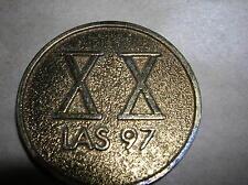 "OLYMPIC 1 1/2"" XX Twenty Las 97 Coin Medal Lightning bolt Horseshoe"