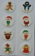 Christmas Sugarettes - Edible - Assorted Designs x 8 Cake Decorations