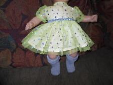 Handmade Bitty Baby Girl Lime Green Dress w Silver Sparkle Trim/Socks M33