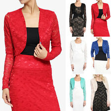 TheMogan Sheer Lace Long Sleeve Open Front Bolero Layering Cover Up Dress Shrug