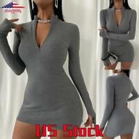Women Long Sleeve Bodycon Mini Dress Ladies Sexy Zipper Knit Slim Party Clubwear