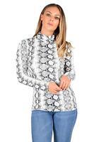 Womens Ladies Snake Skin Snake Print Top Long Sleeve Polo Neck Fashion Top 8-14