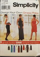 Simplicity Design Your Own pattern 7104 Misses' fitted Dress size 4, 6, 8 uncut