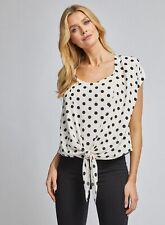 Dorothy Perkins Womens Ivory Spot 2 in 1 Tie T-Shirt Short Sleeve Blouse Top