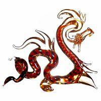 "Glass Dragon Figurine / Handmade Hand Blown Art Glass Dragon Animal 4"""